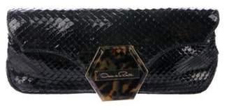 Oscar de la Renta Snakeskin Flap Clutch Black Snakeskin Flap Clutch