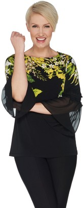 Susan Graver Printed Liquid Knit Top with Smocked Sheer Chiffon Sleeves