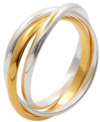 Silverly Women's .925 Sterling Silver Yellow Gold-Plated Triple 3 Band Russian Wedding Ring