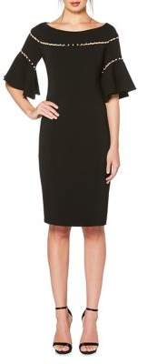 Laundry by Shelli Segal Embellished Bell-Sleeve Knee-Length Dress