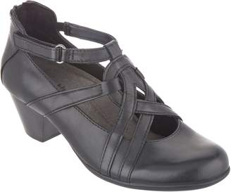 Earth Leather Pumps with Strap Detailing - Virtue