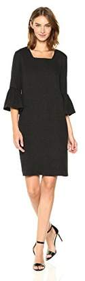 Calvin Klein Women's Texture Square Neck Flutter Sleeve Dress