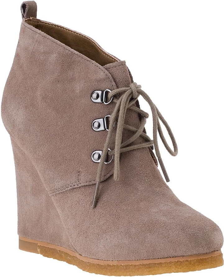 Steve Madden SHOES Tanngoo Wedge Bootie Taupe Suede
