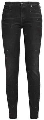 7 For All Mankind Studded Faded Mid-Rise Skinny Jeans