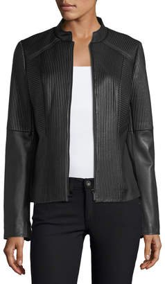 Neiman Marcus Leather Collection Ribbed Quilted Center-Zip Leather Moto Jacket