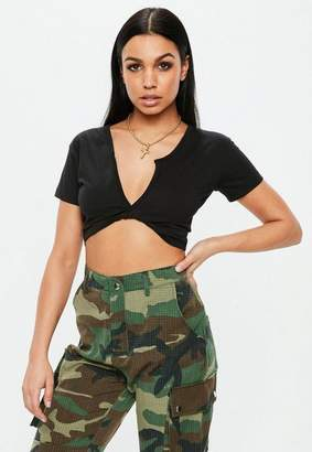 Missguided Black Short Sleeve Twist Front Crop Top