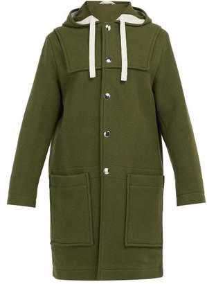 Acne Studios Hooded Wool Blend Coat - Mens - Green