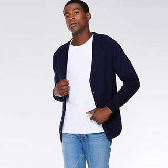QUIZMAN - Navy Ribbed Elbow And Side Panel Cardigan