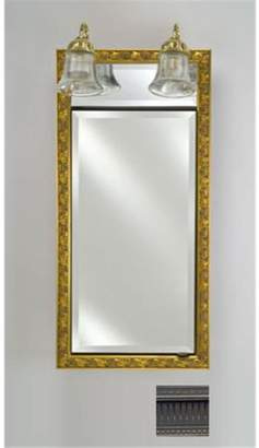 Afina Corporation SD-LT1730RROMPW 17 in.x 30 in.Recessed Single Door Cabinet with Traditional Lights - Roman Pewter