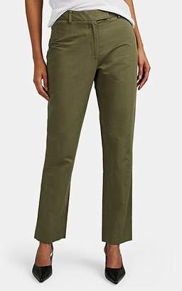 Officine Generale Women's Louise Cotton-Linen Slub-Twill Trousers - Olive