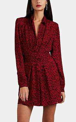 Saint Laurent Women's Leopard-Print Crepe Shirtdress - Red