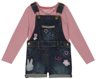 Bluezoo BLUE ZOO Girls' Multi-Coloured Denim Dungarees And Striped Top Set