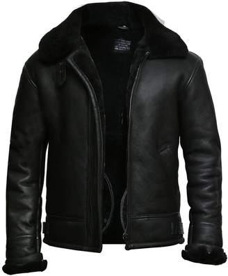 Brandslock Mens Aviator Shearling Sheepskin Leather Flying Jacket (3XL, )