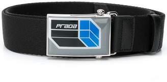 Prada front logo belt