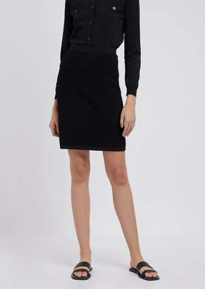 Emporio Armani Pencil Skirt In Stretch Viscose Ottoman