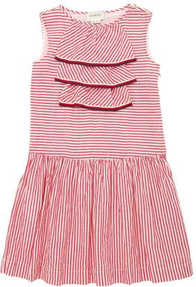 Gucci Striped Cotton Canvas Dress W/ Ruffles