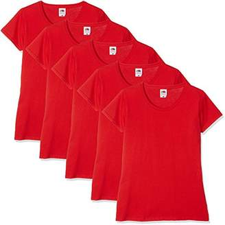 Fruit of the Loom Women Valueweight 5 T-Shirt,(Manufacturer Size:M/) Pack of 5