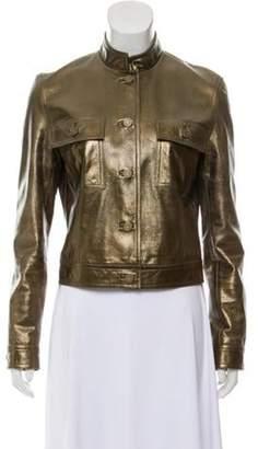 Celine Metallic Leather Jacket Gold Metallic Leather Jacket