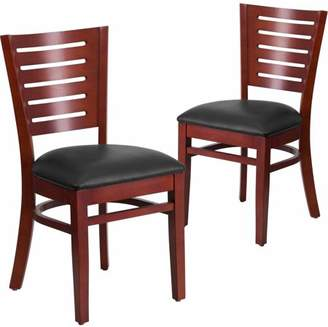 Flash Furniture 2-Pack Darby Series Slat Back Mahogany Wooden Restaurant Chair, Vinyl Seat, Multiple Colors