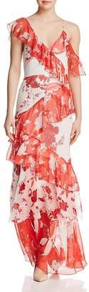Alice + Olivia Olympia Asymmetric Ruffled Silk Maxi Dress