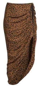 Diane von Furstenberg Asymmetrical Ruched Midi Skirt