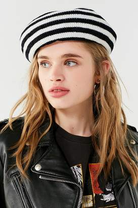 8f4e94c0515 at Urban Outfitters · Urban Outfitters Striped Chenille Beret