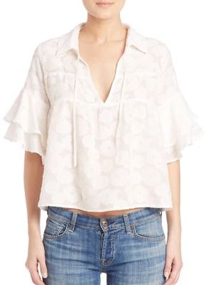 For Love & Lemons Buttercup Ruffled Sleeve Silk Blend Blouse $169 thestylecure.com