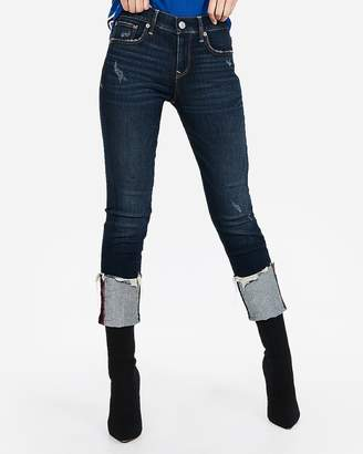 Express Mid Rise Ripped Stretch+ Cuffed Cropped Skinny Jeans