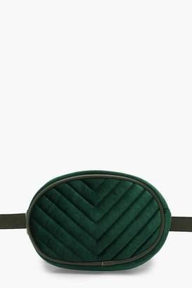 boohoo Velvet Chevron Quilted Belt Bag