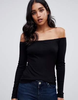 Bardot ASOS DESIGN off shoulder top in rib in black