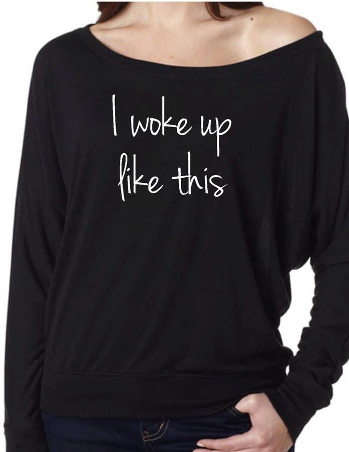 Etsy I woke up like Shoulder Off. Workout Shirt. Running Sweatshirt. Gym Shirt. Fitness sweater. Fierce S