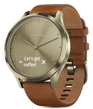 Garmin vívomove® HR Premium Brown Leather Strap Hybrid Smartwatch, 43mm