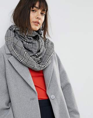 Asos Woven Check Snood With Zip And Ring Pull