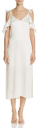 WAYF Costa Ruffled Cold-Shoulder Dress $108 thestylecure.com