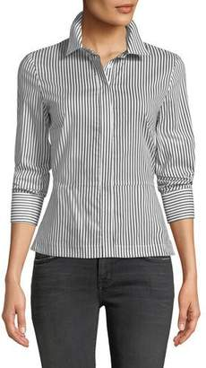 Bailey 44 Spell On You Long-Sleeve Striped Cotton Shirt w/ Lace-Up Back
