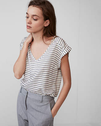 Express Metallic Stripe V-Neck Gramercy Tee