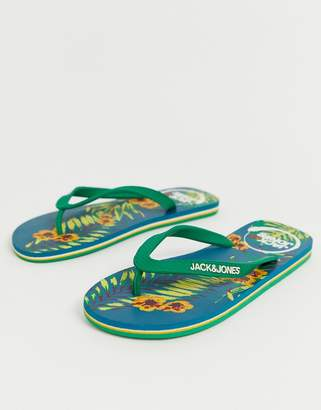 Jack and Jones flip flops with printed floral sole