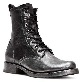 Frye Women's Veronica Metallic Leather Combat Boots