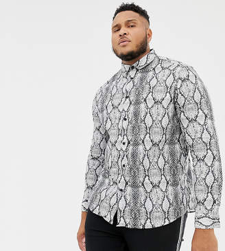Asos DESIGN Plus stretch slim snakeskin printed shirt in gray
