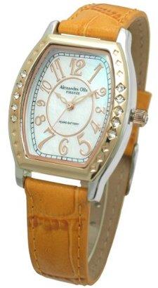Alessandra Olla (アレッサンドラ オーラ) - [アレサンドラオーラ]Alessandra Olla 腕時計 トノー型 10Pクリスタルベゼル ウォッチ レザーベルト オレンジ AO-1850OR レディース