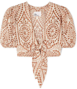 Lisa Marie Fernandez Pouf Cropped Embroidered Broderie Anglaise Cotton Blouse