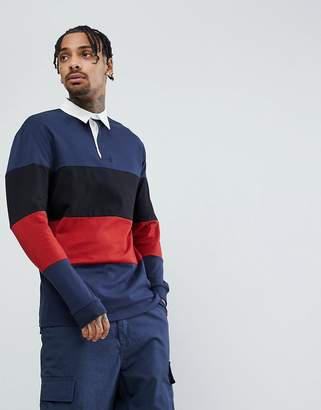 Asos DESIGN Longline Long Sleeve Rugby Polo Shirt With Color Block In Heavyweight Jersey