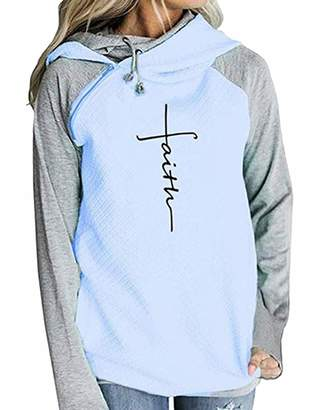 Kalin Women Faith Zipper Double Hooded Drawstring Sweatshirt Pullover Hoodies