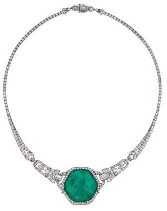 Platinum Emerald & Diamond Collar Necklace