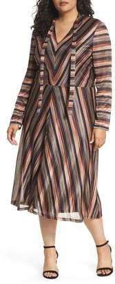 London Times Tie Neck Stripe A-Line Dress