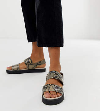 Monki exclusive double strap flat slingback sandals in brown snake