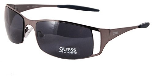 Guess GU6248 GUN-9 Unisex Wrap Shield Blue Lens Designer Sunglasses, Gunmetal