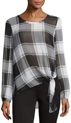BELLE + SKY Long Sleeve Round Neck Woven Blouse