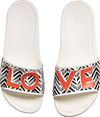 Crocs Women's Drew Barrymore Sloane Chevron Slide Flat Sandal