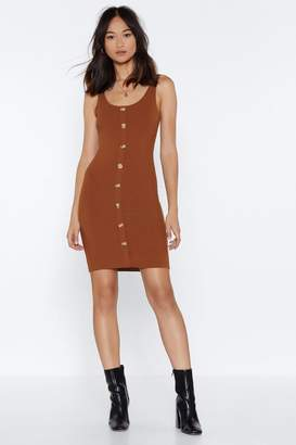 Nasty Gal Don't Back Button-Down Ribbed Dress
